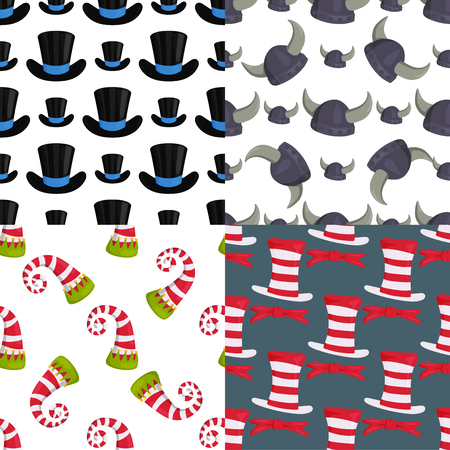 Hats funny caps for party holidays seamless pattern background masquerade traditional headwear clothes accessory vector illustration. Illustration