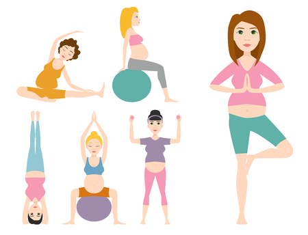 Pregnancy sport fitness people healthy character lifestyle concept woman yoga vector illustration.