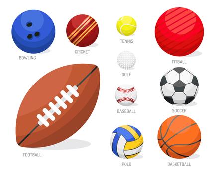 Set of sport balls collection tournament win round basket soccer equipment vector illustration.