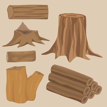 Stacked wood pine timber for construction building cut stump lumber tree bark materials vector set Иллюстрация