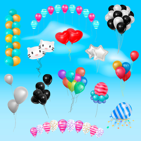 Different 3d realistic balloonss in air happy Birthday gift collection of colorful gel balls vector set illustration Illustration