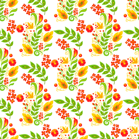 Vector khokhloma seamless pattern background design traditional Russia drawn illustration ethnic ornament painting illustration