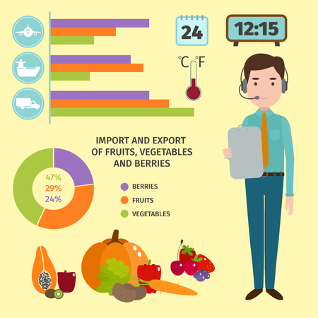 Vector worldwide shipping manager heavy fresh fruits delivery ways and logistics in business warehouse illustration
