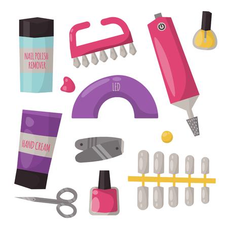 Manicure instruments hygiene hand care pedicure salon tweezers fingernail personal cosmetics equipment vector illustration.