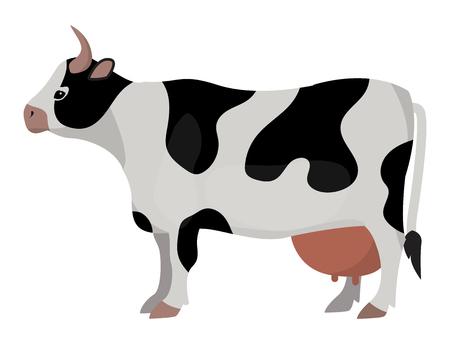 牛ファーム動物の面白い漫画ベクトル イラスト牛哺乳類自然牛農業ミルク文字