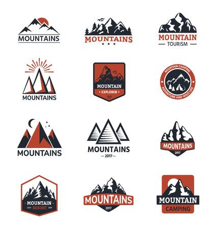 Gebirgsgebirgsschattenbildreise-Logoausweisnatur im Freien die felsige Spitzenlandschaft des felsigen Schnees, die Bergspitzenspitze wandert, die Illustration wandert Standard-Bild - 88166404
