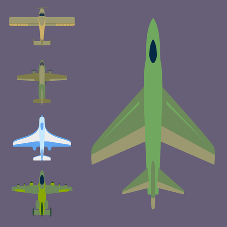 Vector airplane illustration top view and aircraft transportation travel way design journey object. Illusztráció