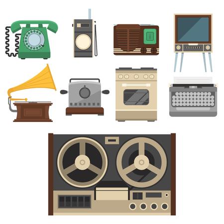 Retro uitstekende van het het keukengerei van het huishoudapparaten vectorkeuken antieke van het het gebruikswerktuig elektrische materiaalillustratie. Stock Illustratie