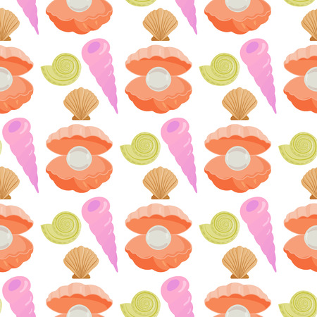 Sea shells marine cartoon clam-shell seamless pattern background ocean starfish coralline vector illustration Ilustrace