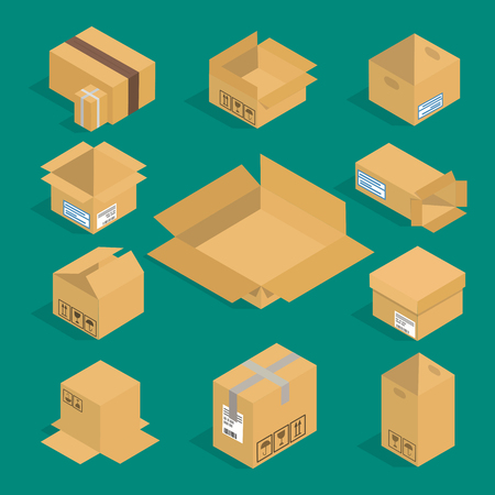 A collection of different boxes for packaging on green background.