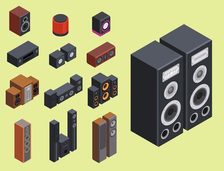 노란색 배경에 사운드 시스템의 다른 유형의 컬렉션입니다. 일러스트