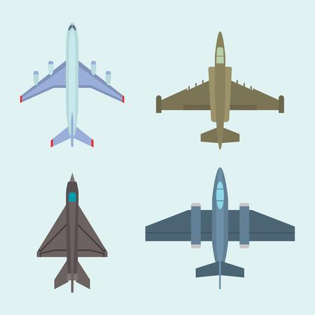 トップ ビューの青い背景でベクトル飛行機イラスト。