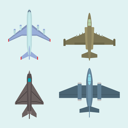 A vector airplane illustration in top view on blue background.