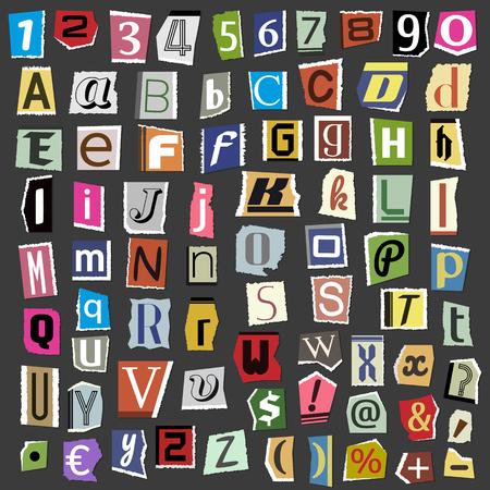 Vector collage lettere alfabeto da stock riviste illustrazione Vettoriali