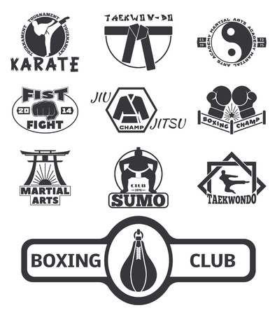 L'insieme delle etichette fresche degli emblemi del club di lotta combatte l'illustrazione di vettore di karatè del pugno di sport della perforazione dei distintivi. Archivio Fotografico - 88171512
