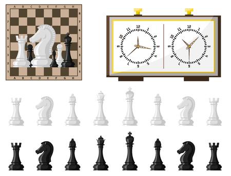 Schachbrett- und Schachfigurenvektor-Freizeitkonzept auf weißem Hintergrund.
