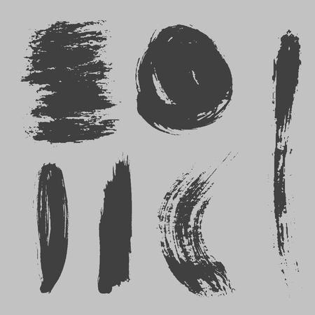 Verschiedene Grunge Pinselstriche Tinte Kunst Textur Vektor-Illustration