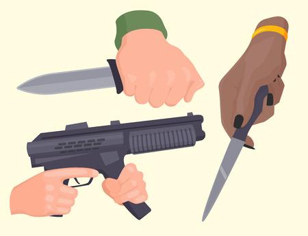 銃保護弾薬犯罪軍警察銃器で発射手手ベクトルです。  イラスト・ベクター素材