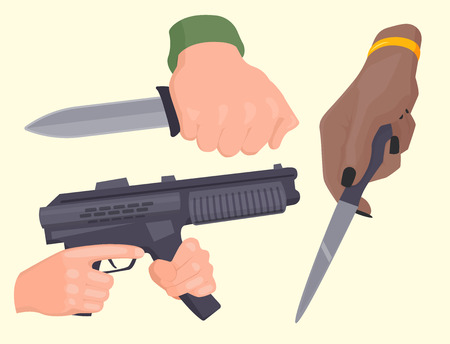 Hand firing with gun protection ammunition crime military police firearm hands vector. Ilustração