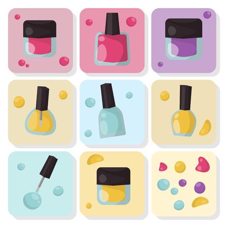 Nail polish bottles set vector illustration. Ilustracja
