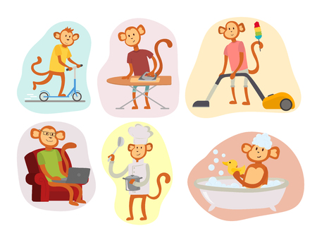 Monkey cartoon in human costume flat vector illustration Illustration