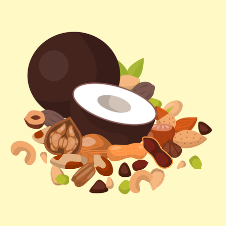 Piles of different nuts vector illustration