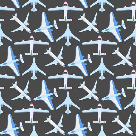 ベクトル飛行機イラスト トップ ビューや航空機輸送のシームレスなパターン。  イラスト・ベクター素材