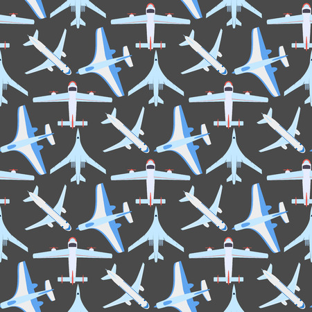 Vector airplane illustration top view and aircraft transportation  seamless pattern.