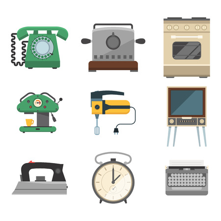 Retro vintage household appliances vector illustration.
