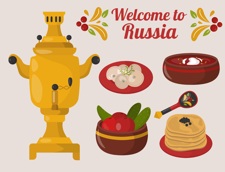 Traditional Russian cuisine culture dish course food vector illustration 向量圖像