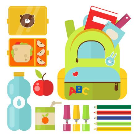 School supplies with food vector illustration.