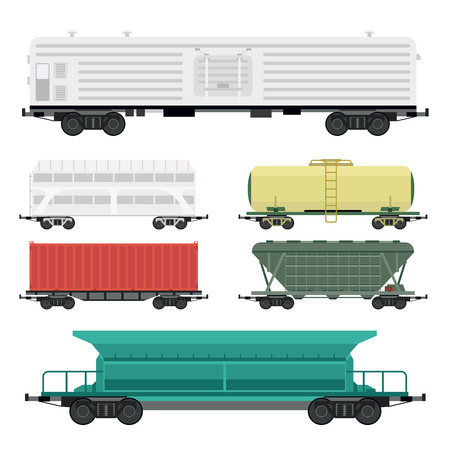 Train carriages vector wagon transport. Vectores