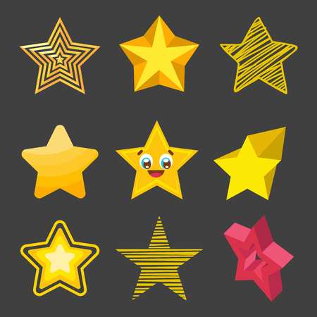 estrellas cinco puntas: Different style shape silhouette shiny star icons collection vector illustration. Pointed pentagonal gold award. Abstract design star symbol. Vector shape graphic element.