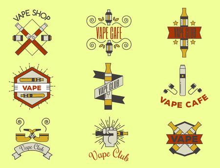 Vaping e-cigarette emblemsvector vintage electronic nicotine cigarette illustration vaporizer device shop design. Stock fotó