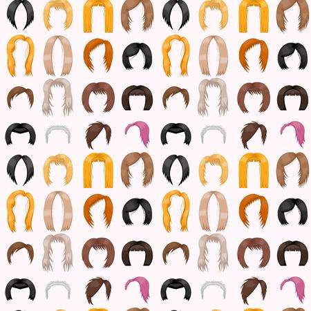 여자 헤어 스타일링 원활한 패턴 배경 벡터 일러스트 레이션 스톡 콘텐츠 - 88217965
