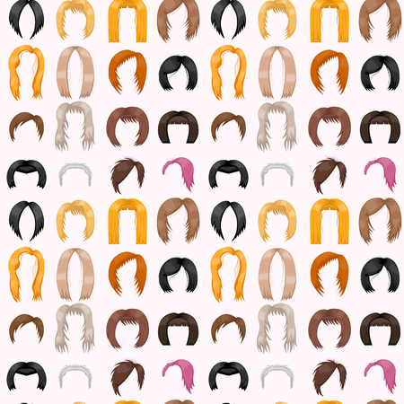 Woman hair styling seamless pattern background vector illustration