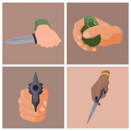 총을 가진 손 발사 보호 탄약 범죄 군사 경찰 총기 손 벡터.