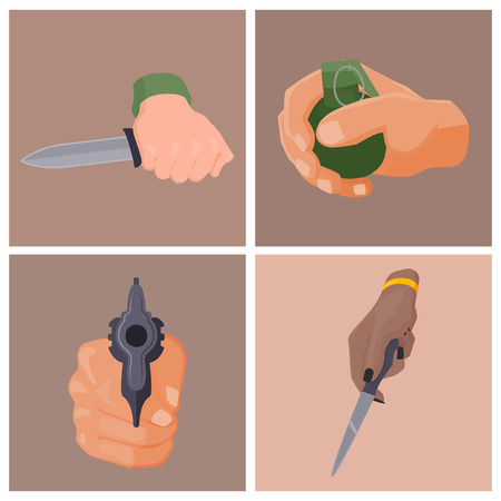 Hand firing with gun cards protection ammunition crime military police firearm hands vector.