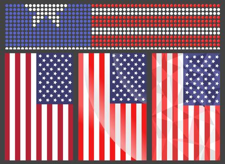 Independence day USA flags United States american symbol freedom national sign vector illustration Ilustração