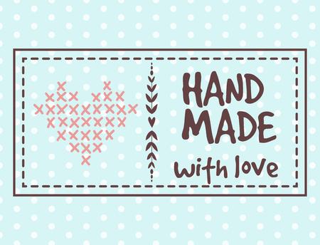 Handmade needlework craft badges sewing banners fashion tailoring tailor handicraft elements vector illustration. 向量圖像