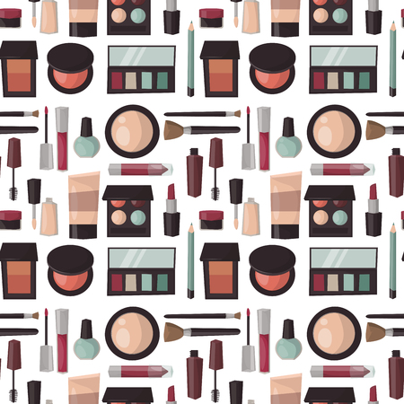 Makeup perfume mascara care brushes seamless pattern background comb faced eyeshadow glamour female accessory vector. Illustration