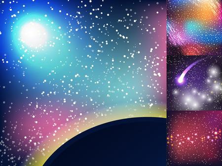 별이 빛나는 외계 갤럭시 우주 공간 그림 우주 배경입니다. 일러스트