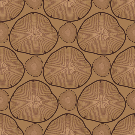Wood slice texture tree circle cut raw material seamless pattern.
