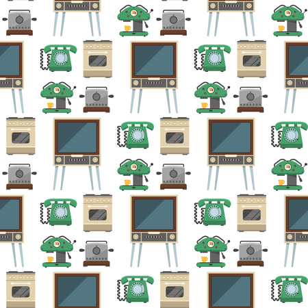 Retro vintage household appliances vector kitchenware seamless pattern. Çizim