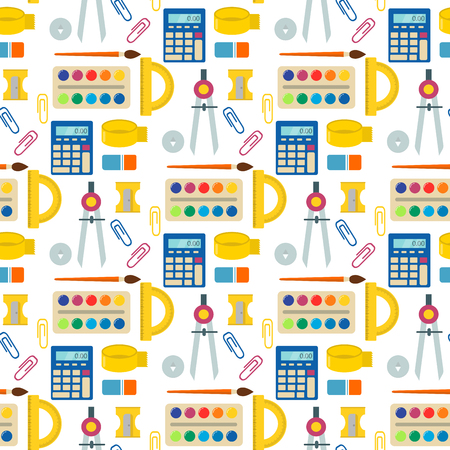 School supplies children stationary educational accessory seamless pattern background. Stock Vector - 88217587