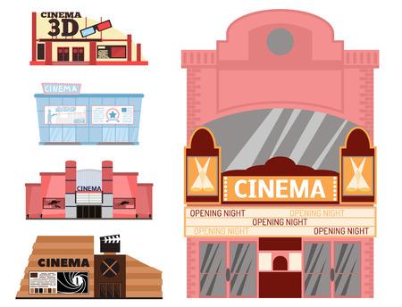 Cinema building vector illustration facade movie entertainment city house architecture theater exterior.