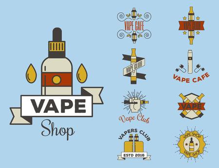 Vaping e-cigarette emblemsvector vintage electronic nicotine cigarette illustration vaporizer device shop design. Иллюстрация