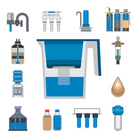 Waterzuivering pictogram kraan verse recycle pomp astewater behandeling collectie vectorillustratie. Stock Illustratie