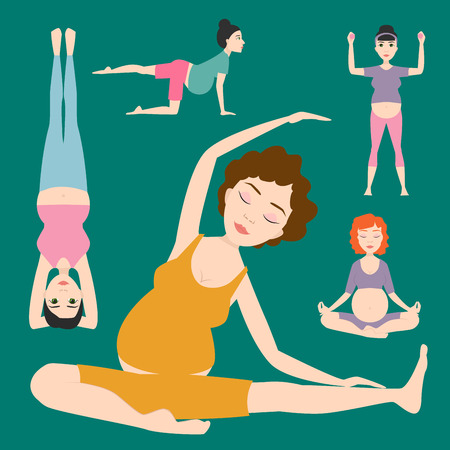Pregnancy sport fitness vector illustration. Illustration