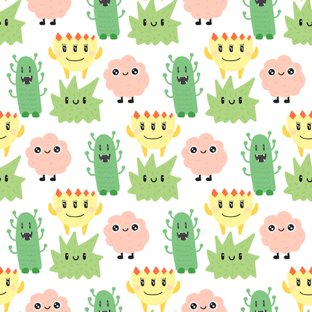 Funny cartoon monster cute alien character creature happy illustration seamless pattern colorful animal vector.